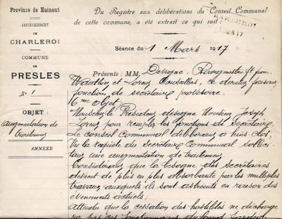 ARCh020a - recto SALAIRE SECRETAIRE COMMUNAL en 1917