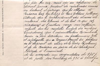 ARCh020b - recto SALAIRE SECRETAIRE COMMUNAL en 1917