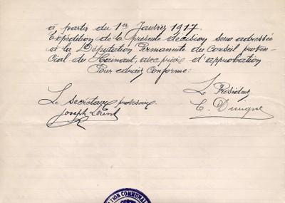 ARCh020c - verso SALAIRE SECRETAIRE COMMUNAL en 1917