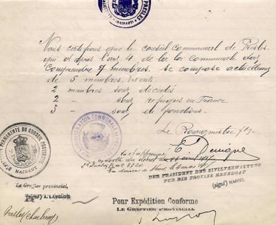 ARCh020d - verso SALAIRE SECRETAIRE COMMUNAL en 1917