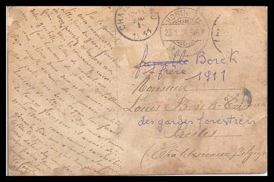 Carte postale expédiée le 23 janvier 1911 (verso)